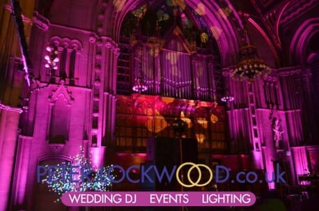manchester town hall pink  wedding lighting on the organ