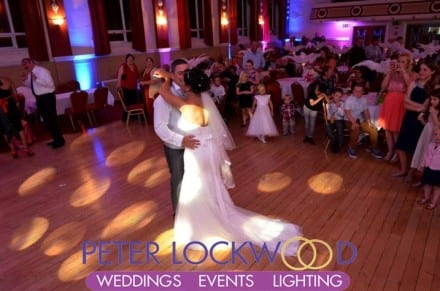 wedding-first-dance-in-chadderton-town-hall-with-pink-and-blue-mood-lighting