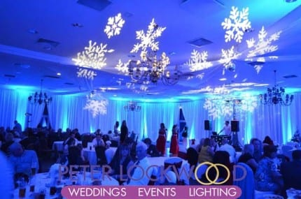 winter wonderland blue wedding lighting