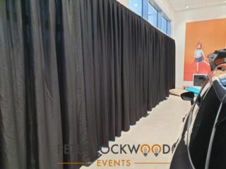 Got something to hide. Our black Pipe and Drape system will do the job. Fully freestanding quick setup with velcro drapes means we are in and out with the minimum of fuss. http://ow.ly/tOMY50Bdetp #pipeanddrape #showroomdrapes #blackdrapes