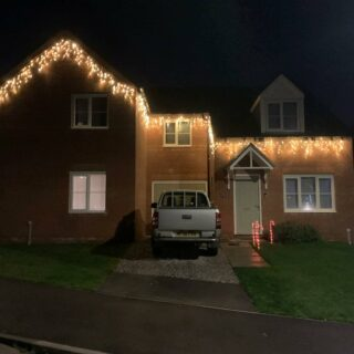 Warm White Icicle lights make any house look classic at Christmas Got the odd fitting dates available #fairylights #christmaslighting